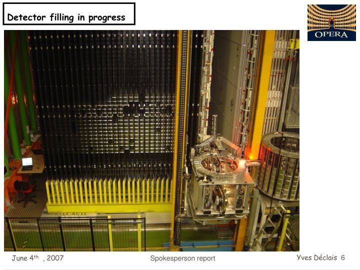 Detector filling in progress