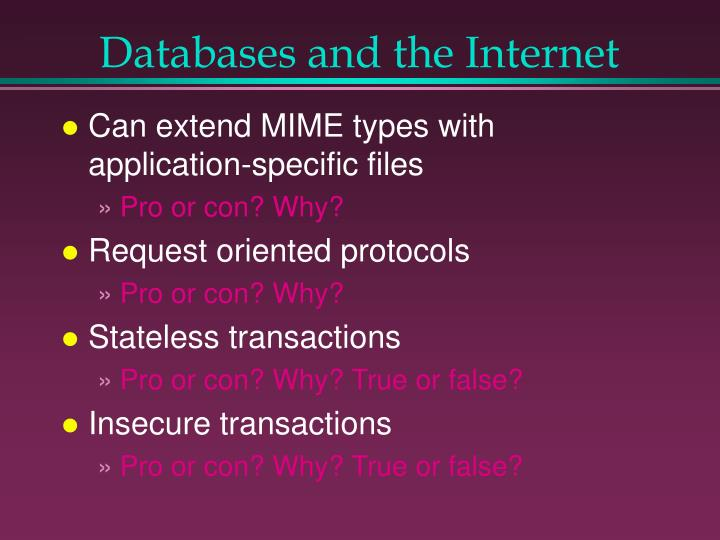 Databases and the Internet