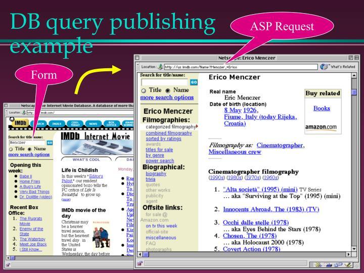 DB query publishing