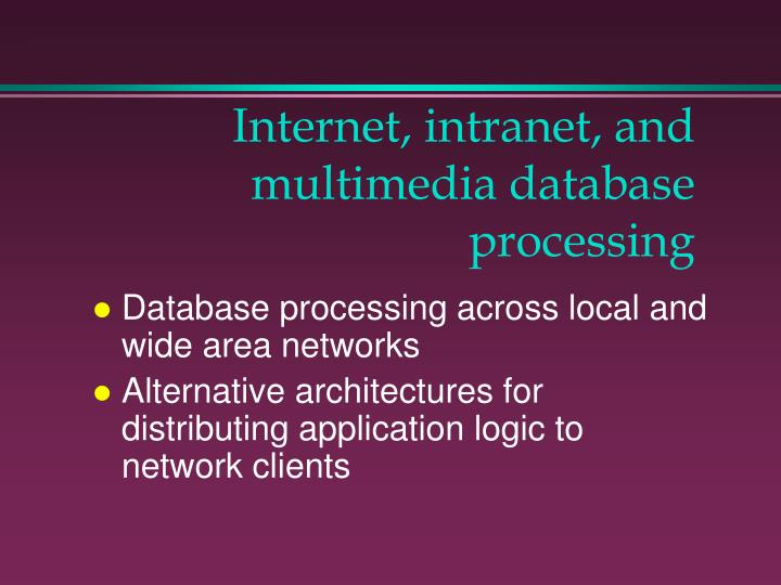 Internet intranet and multimedia database processing