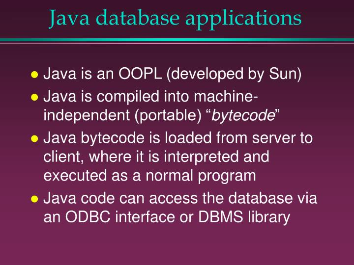 Java database applications