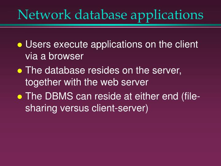 Network database applications