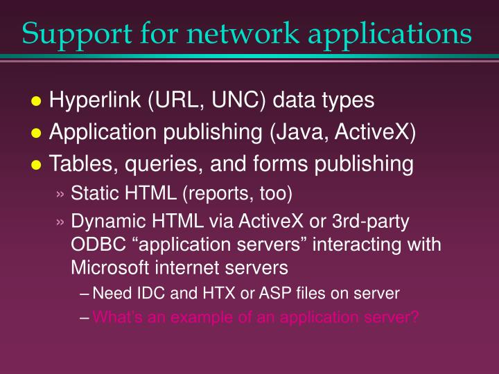 Support for network applications