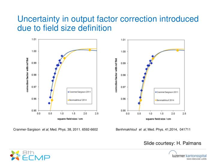 Uncertainty in output factor correction introduced due to field size definition