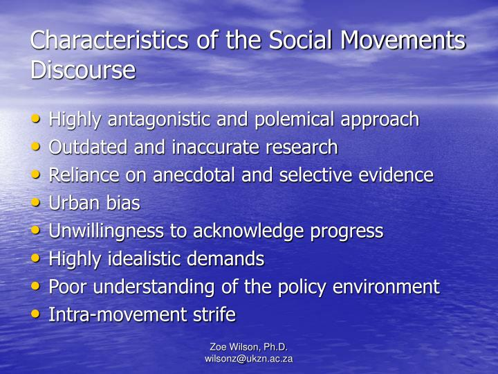 Characteristics of the Social Movements Discourse