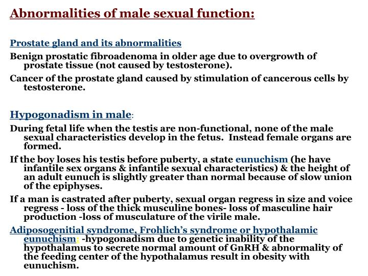 Abnormalities of male sexual function: