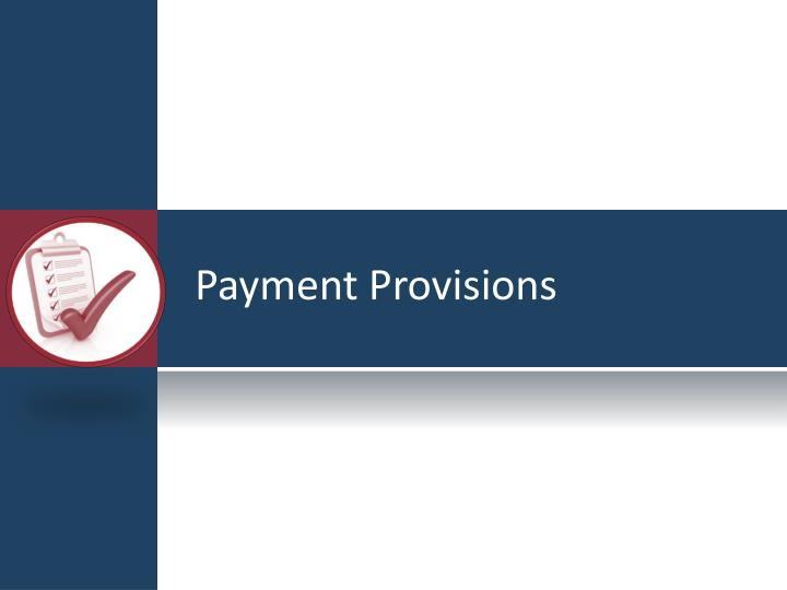 Payment Provisions