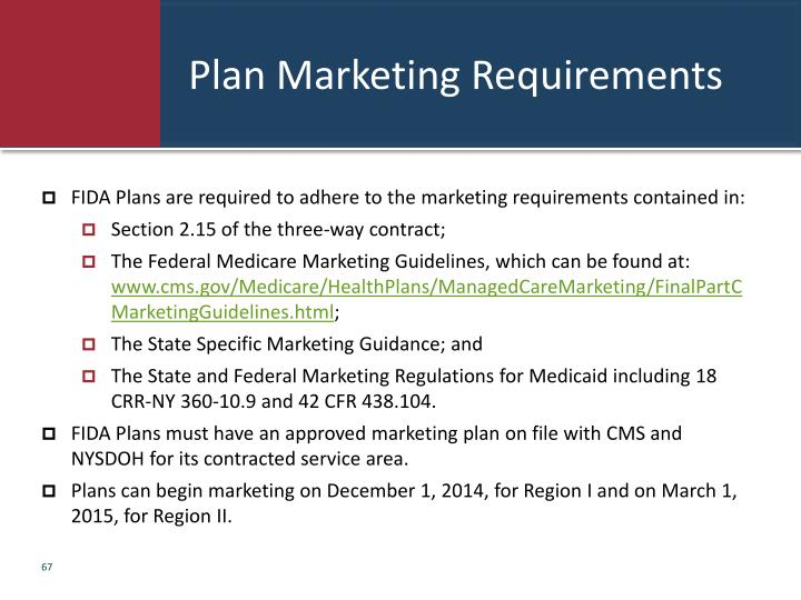Plan Marketing Requirements