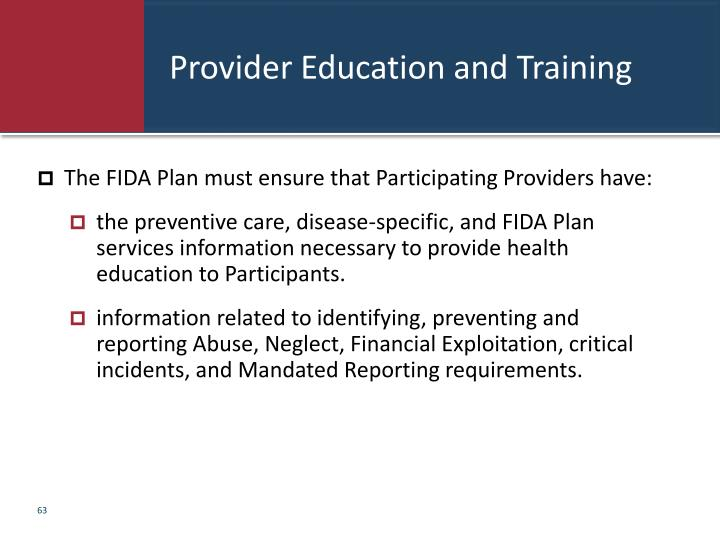 Provider Education and