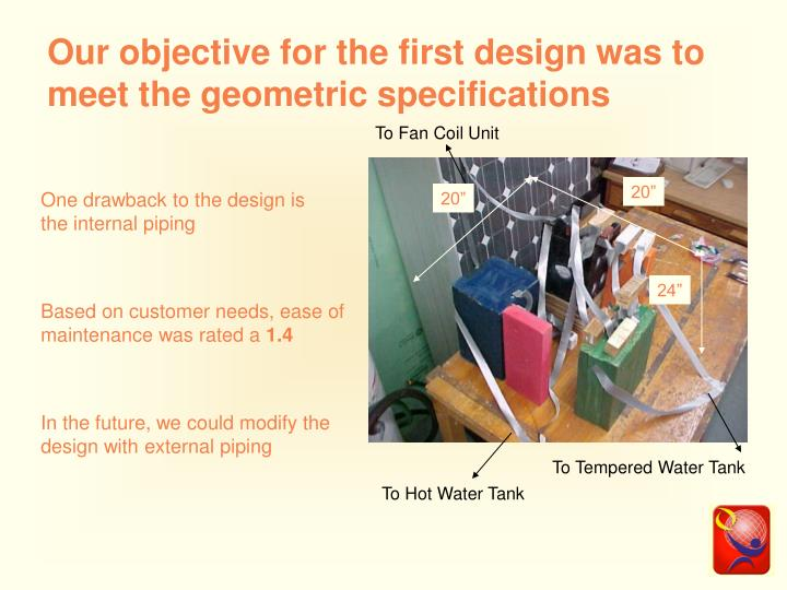 Our objective for the first design was to meet the geometric specifications