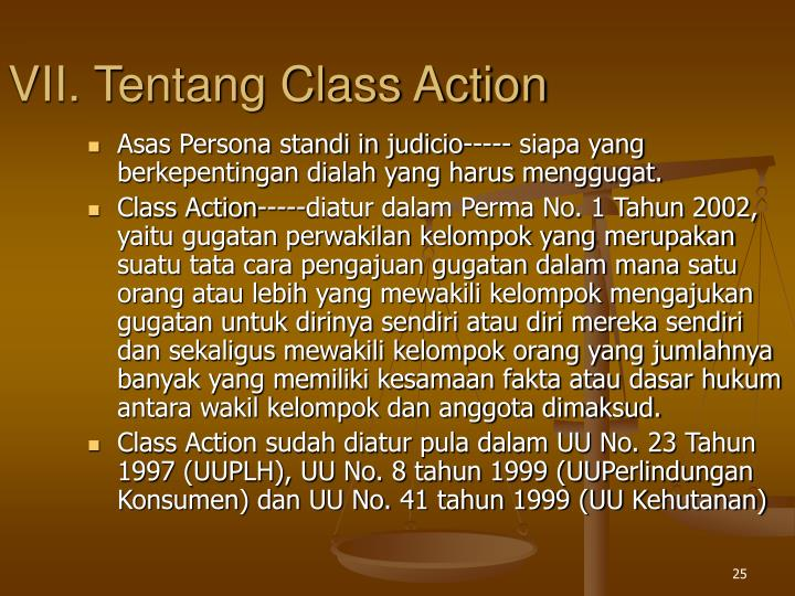 VII. Tentang Class Action