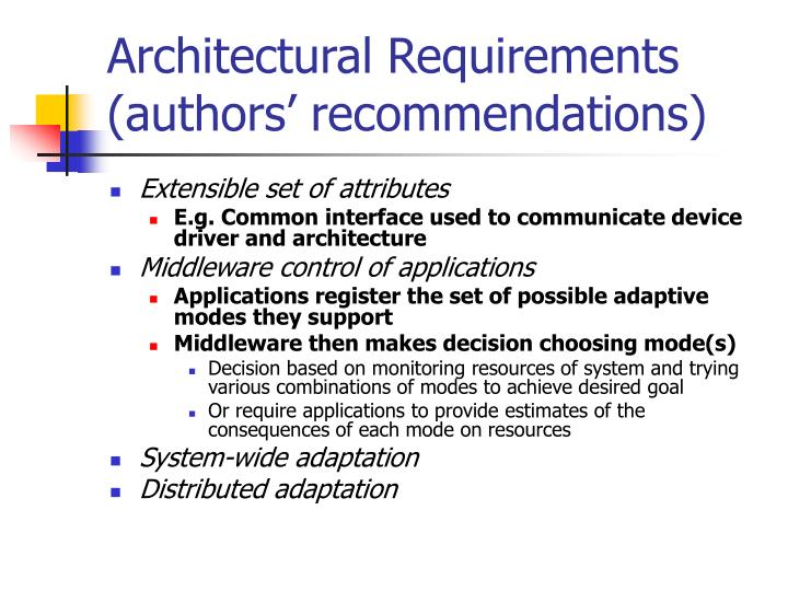 Architectural Requirements (authors' recommendations)