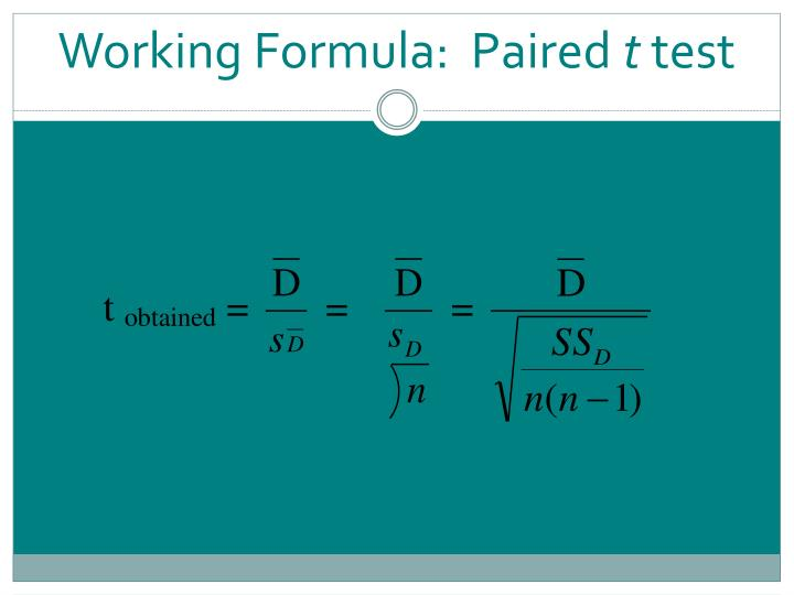 Working Formula:  Paired