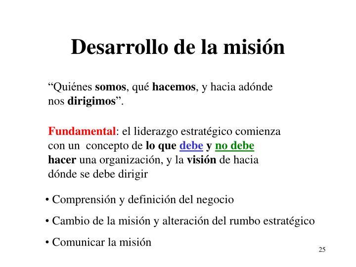 Desarrollo de la misión