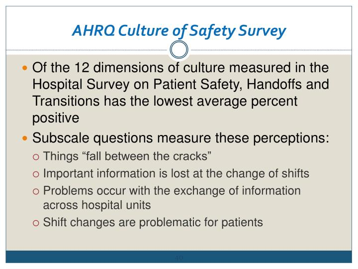 AHRQ Culture of Safety Survey