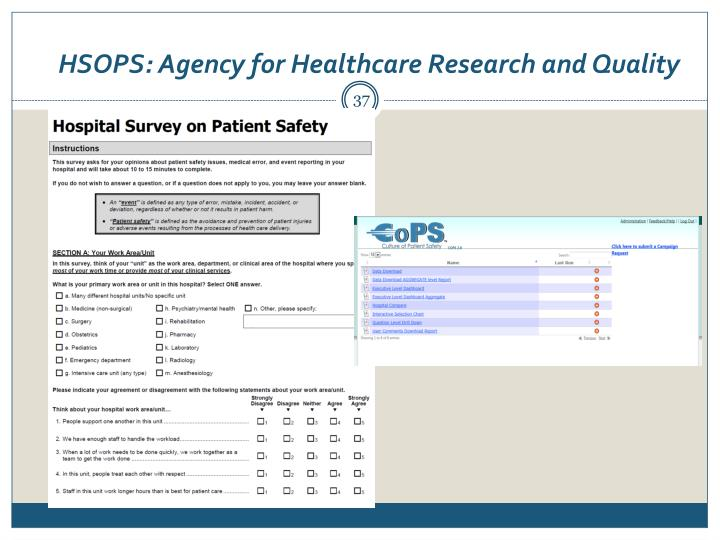 HSOPS: Agency for Healthcare Research and Quality