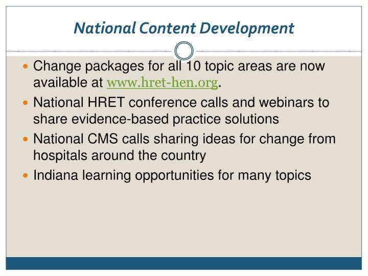 National Content Development