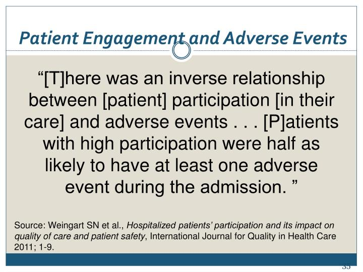 Patient Engagement and Adverse Events