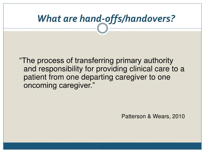 What are hand-offs/handovers?