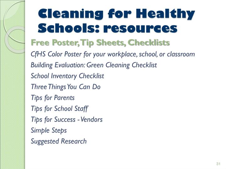Cleaning for Healthy Schools: resources