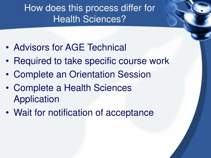 How does this process differ for     Health Sciences?