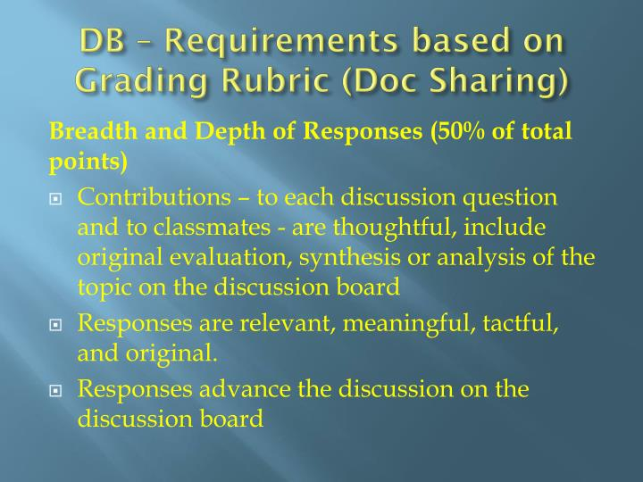 DB – Requirements based on Grading Rubric (Doc Sharing)