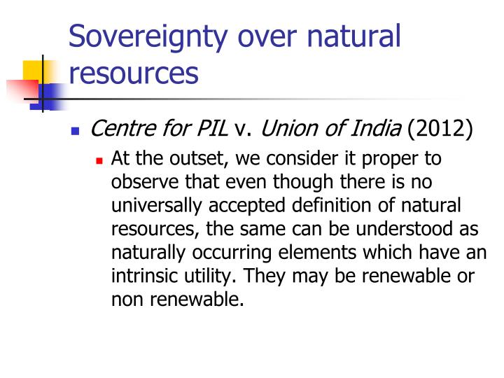 Sovereignty over natural resources