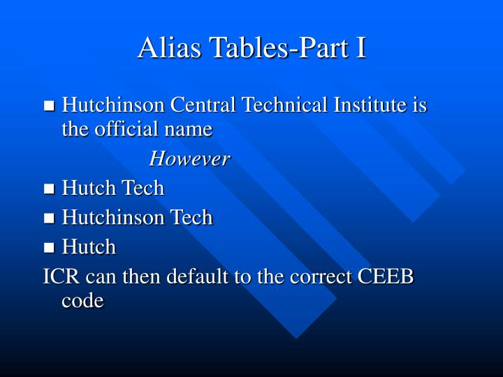 Alias Tables-Part I