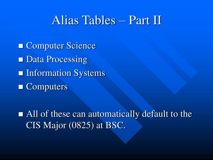 Alias Tables – Part II
