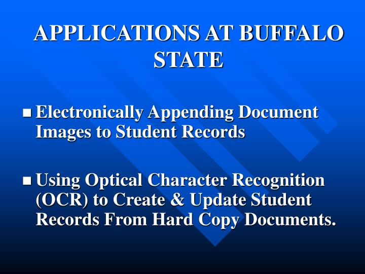 Applications at buffalo state