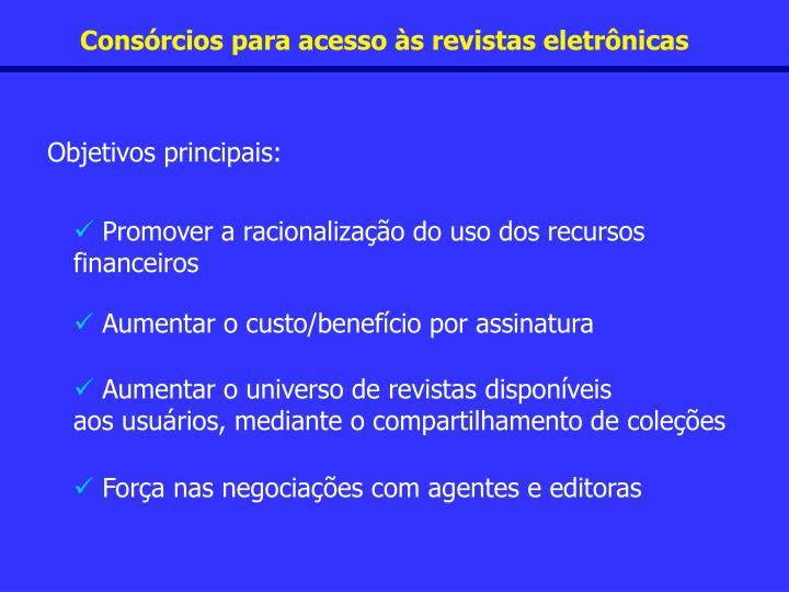 Consórcios para acesso às revistas eletrônicas