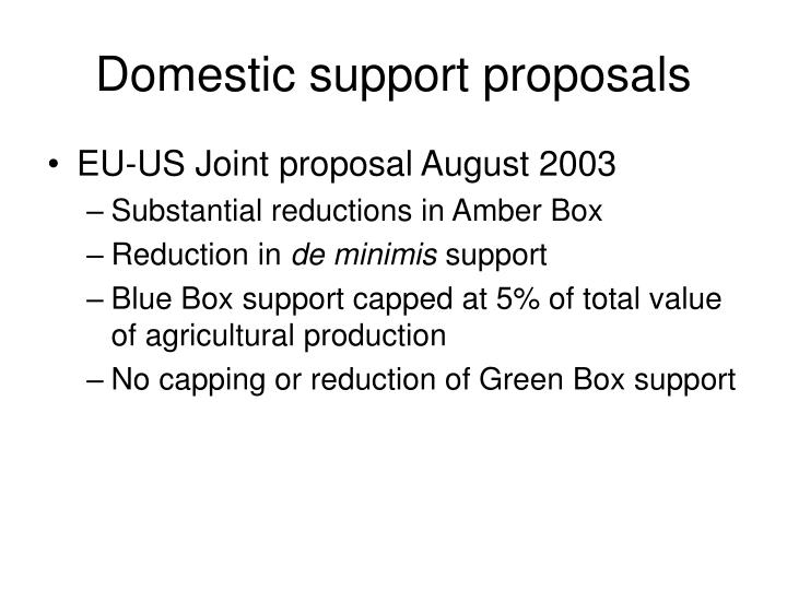 Domestic support proposals