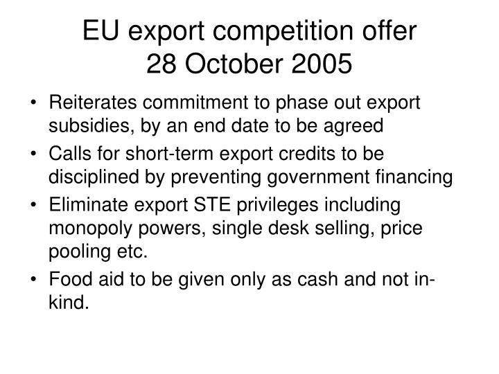 EU export competition offer