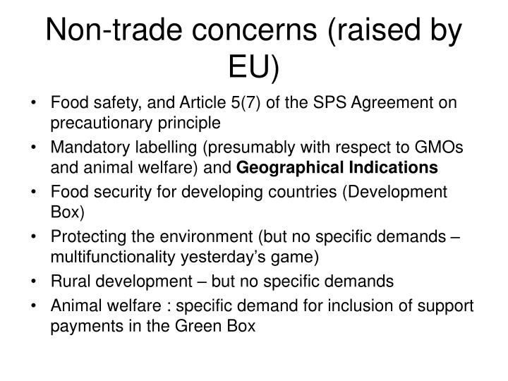 Non-trade concerns (raised by EU)