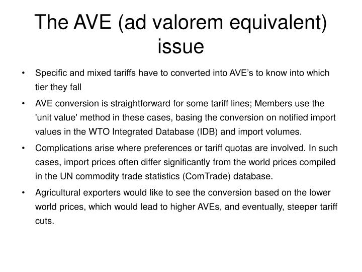 The AVE (ad valorem equivalent) issue
