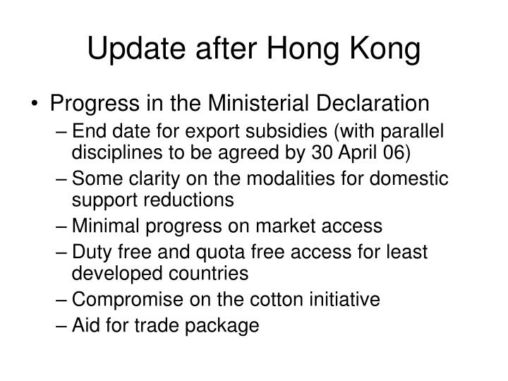 Update after Hong Kong