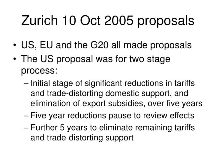 Zurich 10 Oct 2005 proposals