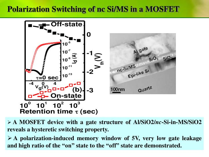 Polarization Switching of nc Si/MS in a MOSFET