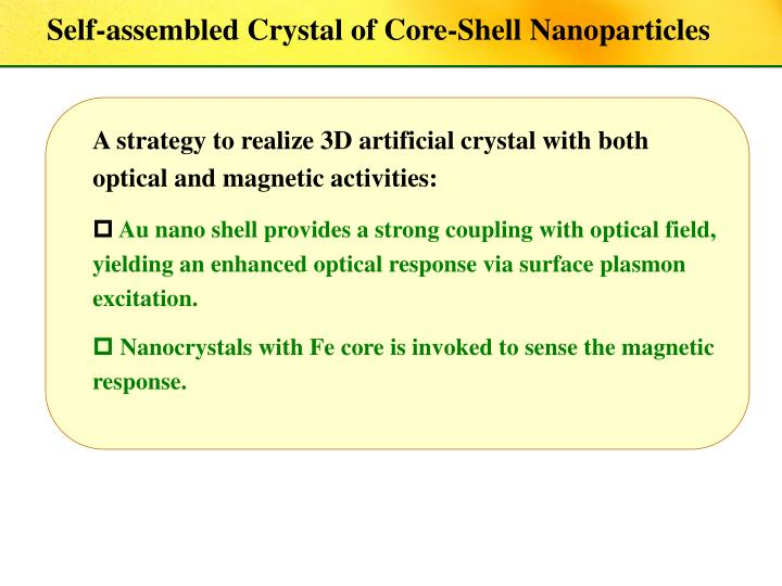 Self-assembled Crystal of Core-Shell Nanoparticles