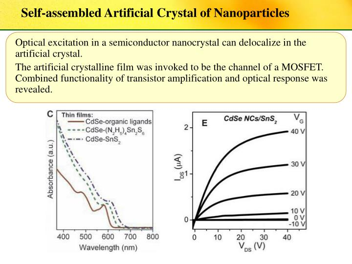 Self-assembled Artificial Crystal of Nanoparticles