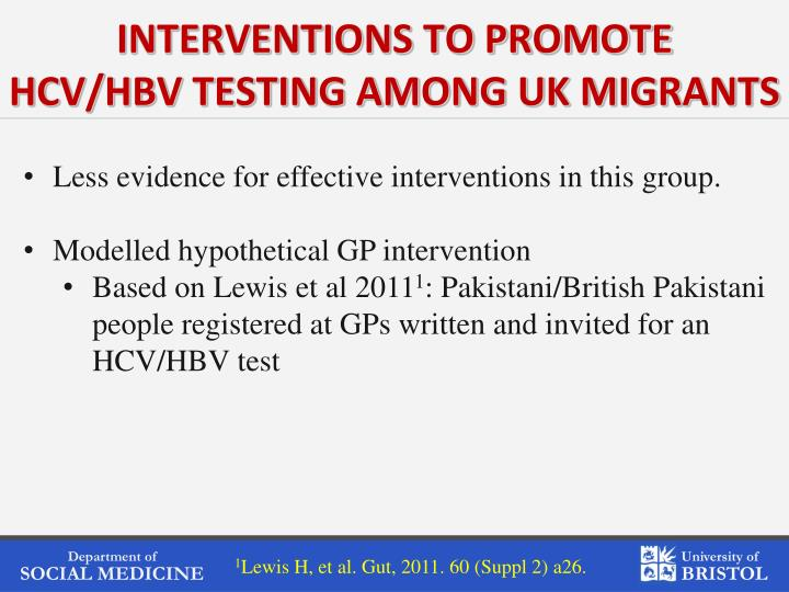 INTERVENTIONS TO PROMOTE