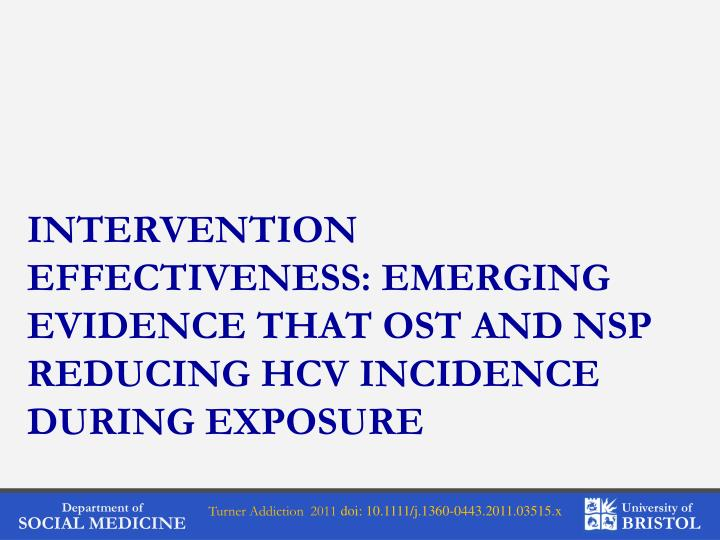 Intervention effectiveness: Emerging evidence that