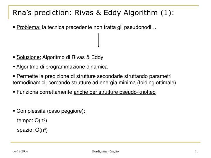 Rna's prediction: Rivas & Eddy Algorithm (1):