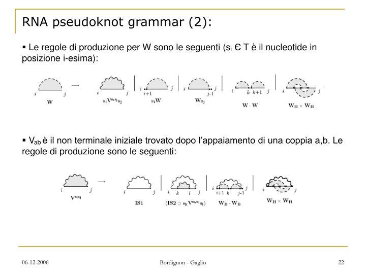 RNA pseudoknot grammar (2):