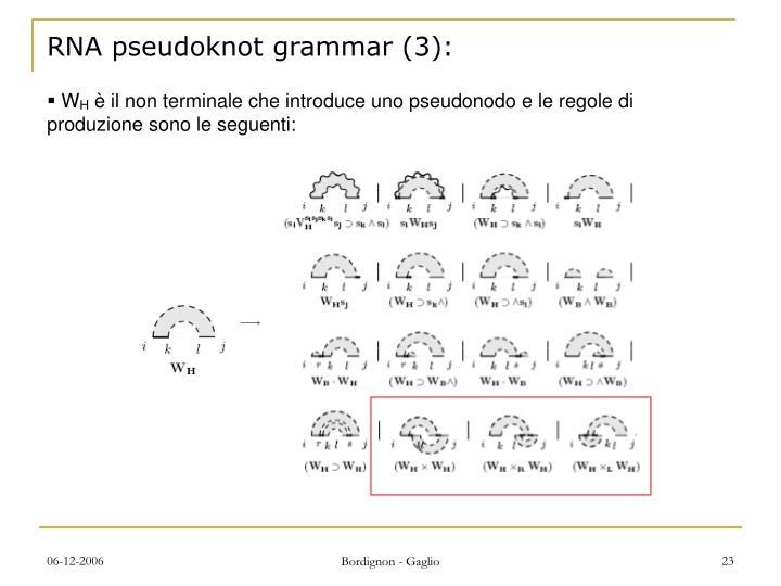 RNA pseudoknot grammar (3):