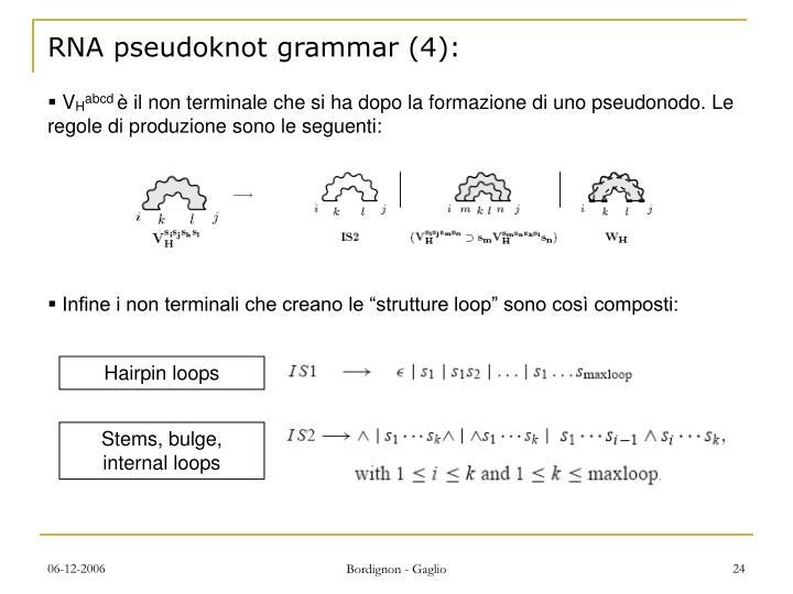 RNA pseudoknot grammar (4):