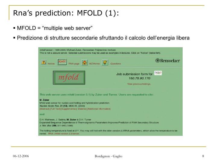 Rna's prediction: MFOLD (1):