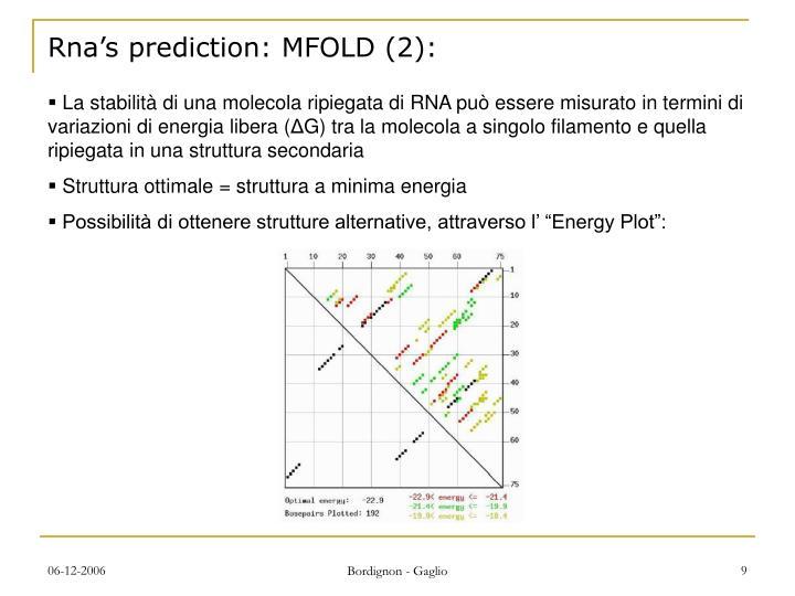 Rna's prediction: MFOLD (2):