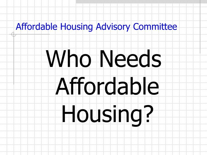Affordable housing advisory committee1