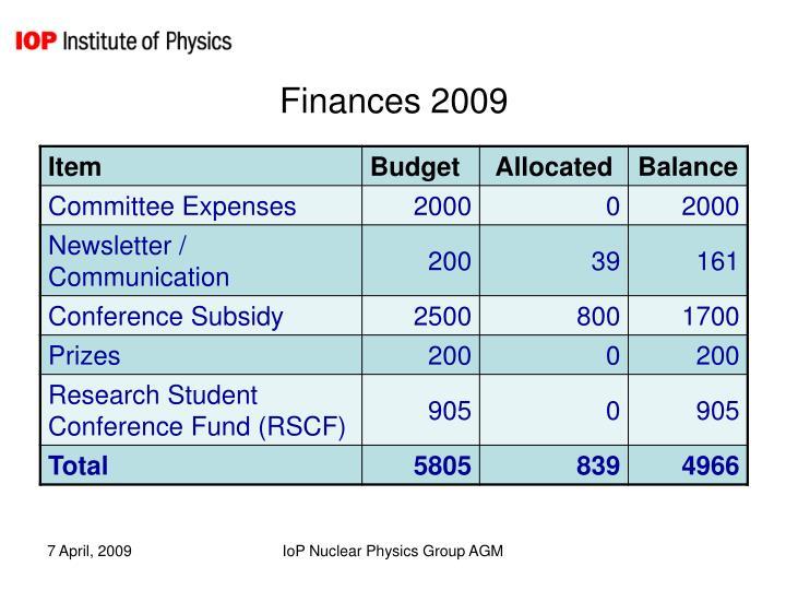 Finances 2009